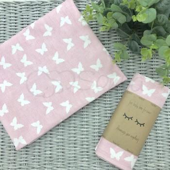 Пеленка бязь Белые бабочки на розовом - Msonya