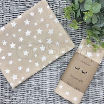 Пеленка бязь Звезды белые на бежевом - Msonya