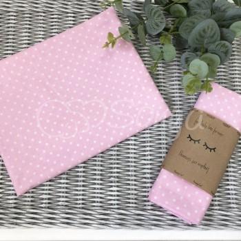 Пеленка бязь Белые горошки на розовом - Msonya