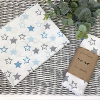 Пеленка бязь Звезды серо-голубые на белом - Msonya