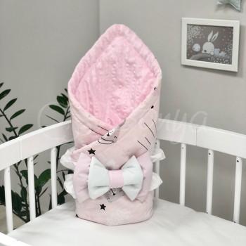 Плед Minky Коты в облаках, розовый - MSonya